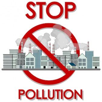 Design de cartaz para parar a poluição com edifícios da fábrica e fumaça