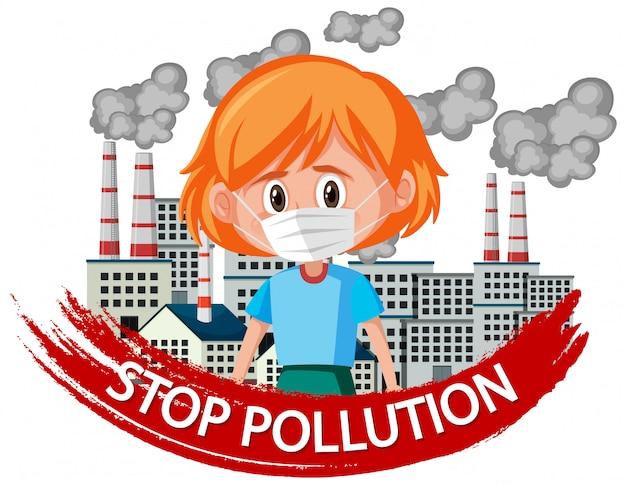 Design de cartaz para parar a poluição com máscara de menina