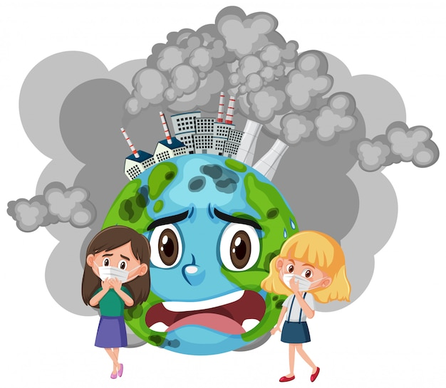 Design de cartaz para parar a poluição com meninas usando máscara