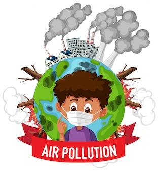 Design de cartaz para parar a poluição com menino vestindo máscara