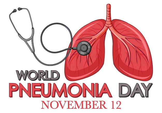 Design de cartaz para pneumonia com pulmões humanos e estetoscópio