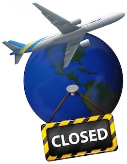 Design de cartaz para tema de coronavírus com a terra sendo fechada