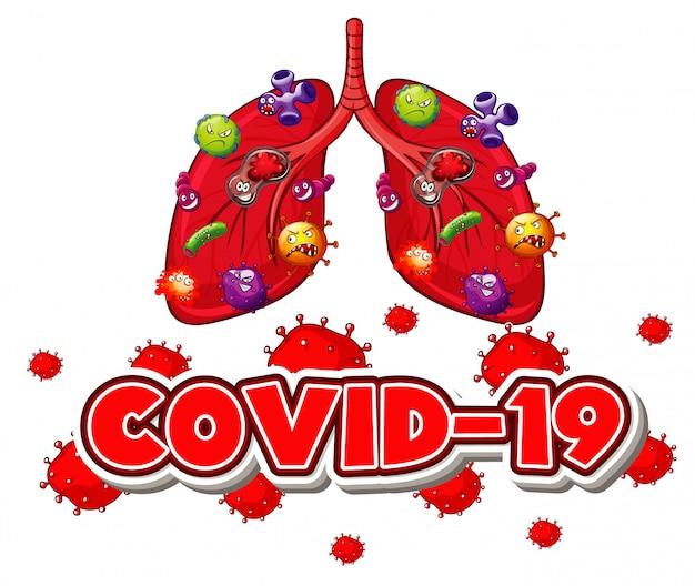 Design de cartaz para tema de coronavírus com células de vírus nos pulmões humanos