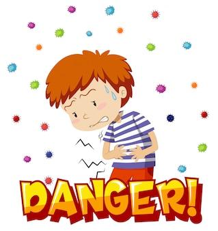 Design de cartaz para tema de coronavírus com dor de estômago e menino