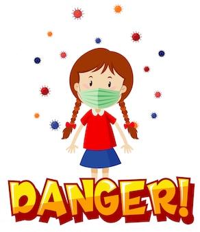 Design de cartaz para tema de coronavírus com garota usando máscara