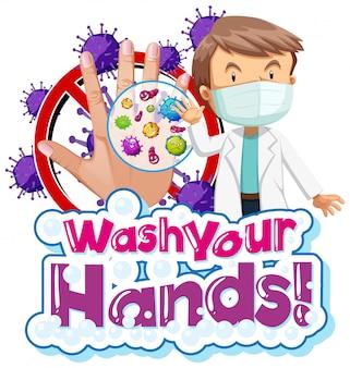 Design de cartaz para tema de coronavírus com médico e mão suja