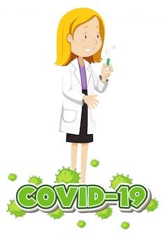 Design de cartaz para tema de coronavírus com médico e vacina