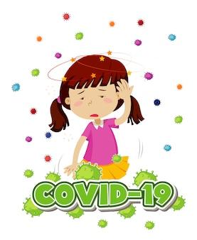 Design de cartaz para tema de coronavírus com menina e dor de cabeça