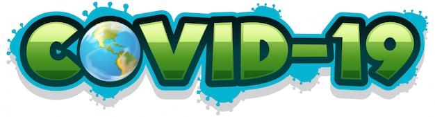 Design de cartaz para tema de coronavírus com palavra covide-19 em fundo branco