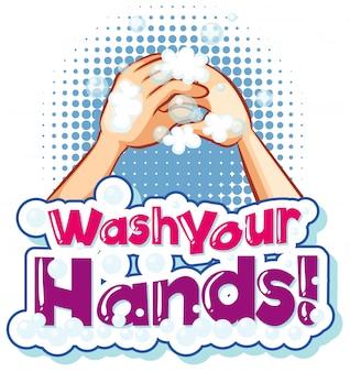 Design de cartaz para tema de coronavírus com palavra lavar as mãos