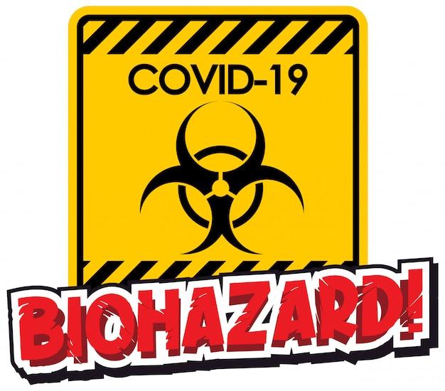 Design de cartaz para tema de coronavírus com sinal de risco biológico
