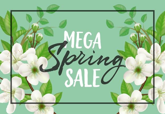 Design de cartaz primavera venda mega com moldura e florescendo galhos de macieira