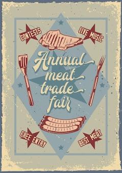 Design de cartaz publicitário com ilustração de carne grelhada