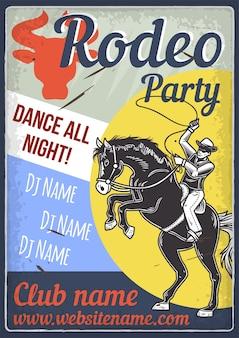 Design de cartaz publicitário com ilustração de um cavalo e um cavaleiro