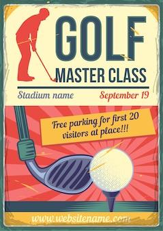 Design de cartaz publicitário com ilustração de um clube de golfe