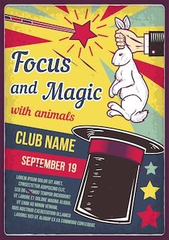 Design de cartaz publicitário com ilustração de um coelho e um chapéu