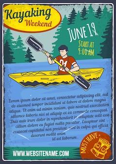 Design de cartaz publicitário com ilustração de um homem em um caiaque na água