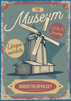 Design de cartaz publicitário com ilustração de um moinho