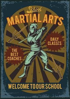 Design de cartaz publicitário com ilustração de um ninja com uma katana