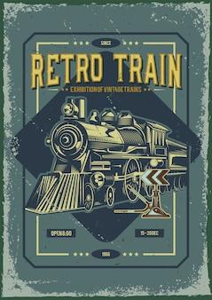 Design de cartaz publicitário com ilustração de um trem