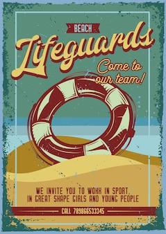 Design de cartaz publicitário com ilustração de uma boia salva-vidas