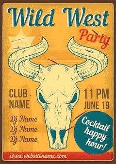 Design de cartaz publicitário com ilustração de uma caveira de touro