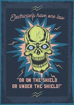 Design de cartaz publicitário com ilustração de uma caveira