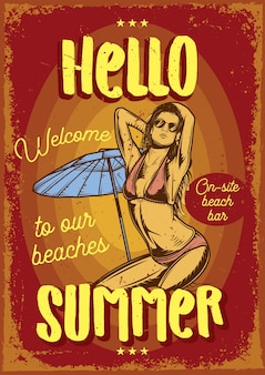 Design de cartaz publicitário com ilustração de uma garota na praia