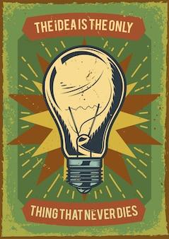 Design de cartaz publicitário com ilustração de uma lâmpada