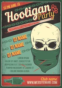 Design de cartaz publicitário com ilustração do crânio de um bandido