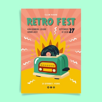 Design de cartaz retrô fest