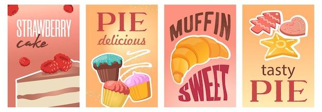 Design de cartazes de torta ou bolo doce