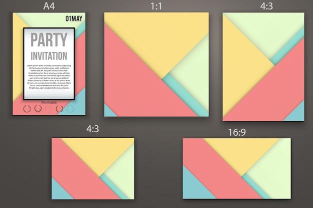 Design de cartões de convite de modelos, página da web e apresentação. estilo de design de material. resumo . formatos diferentes.