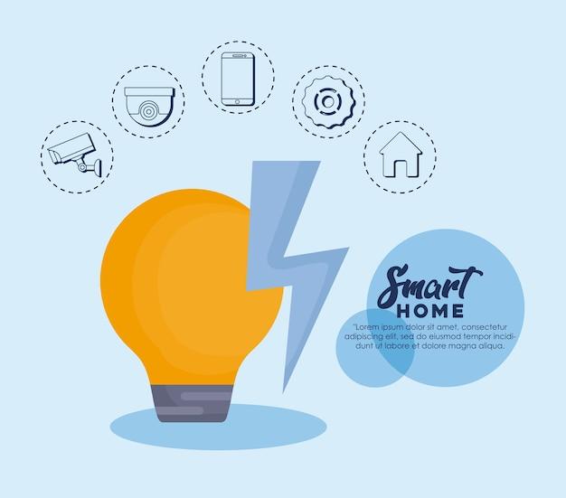 Design de casa inteligente com lâmpada e ícones relacionados ao redor