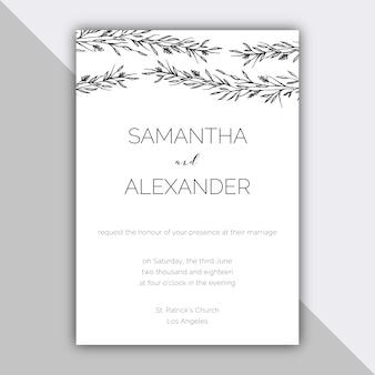 Design de casamento minimalista com elementos desenhados à mão