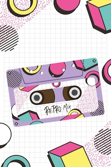 Design de cassete de mix retro, fita vintage de música e tema de áudio.