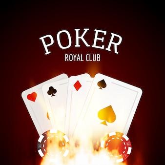 Design de cassino de pôquer de flama com cartas e fichas de fundo