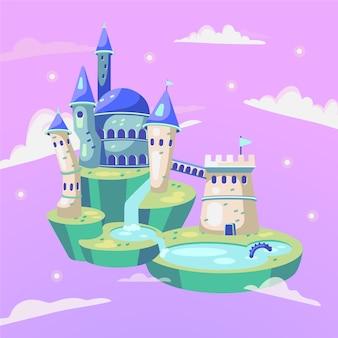 Design de castelo mágico de conto de fadas