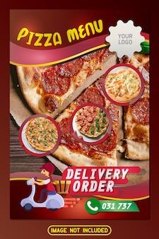 Design de catálogo de panfleto de menu de restaurante pizza