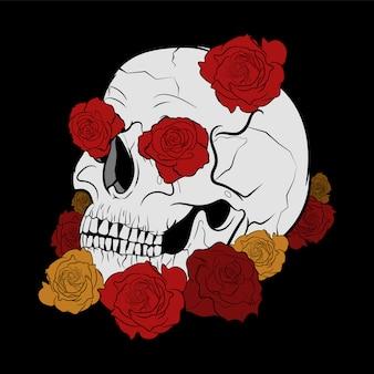 Design de caveira e rosas