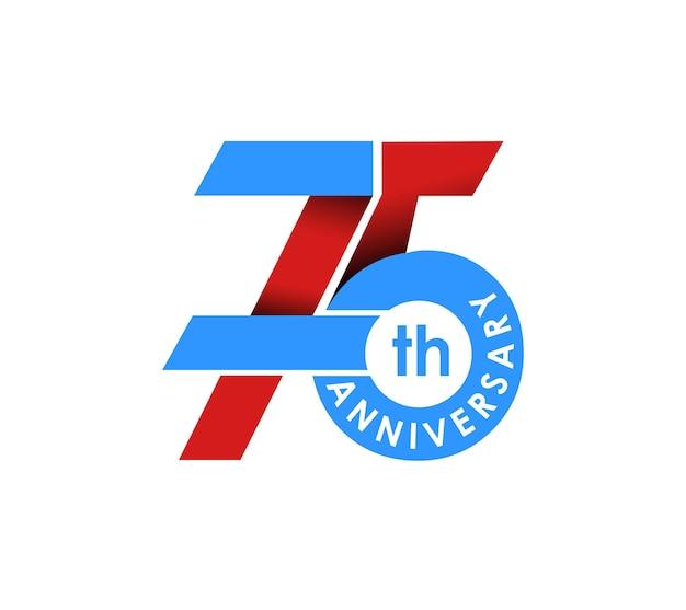 Design de celebração de aniversário de 75 anos. ilustração vetorial.