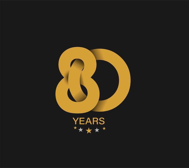 Design de celebração de aniversário de 80 anos.