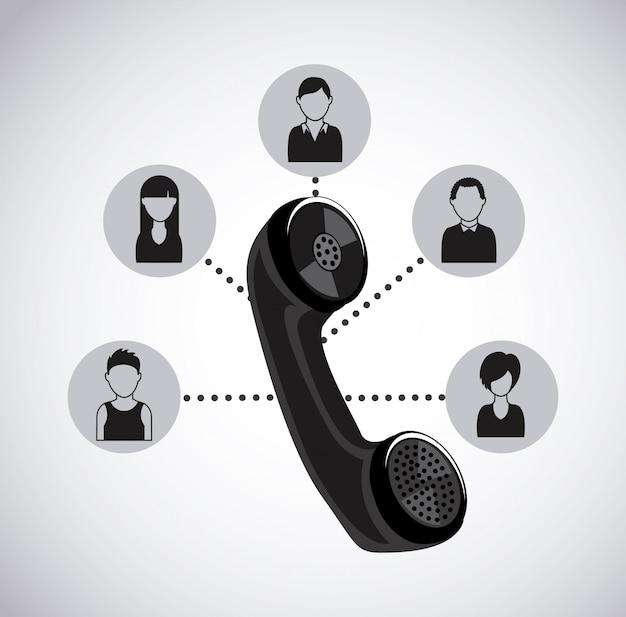Design de centro de chamada sobre ilustração vetorial de fundo branco
