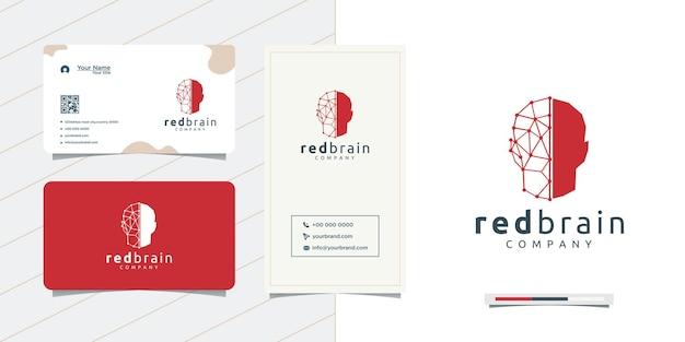 Design de cérebro decorativo de cabeça vermelha e design de cartão de visita
