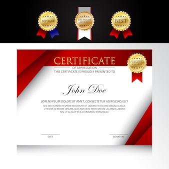 Design de certificado de modelo moderno com opções de crachá