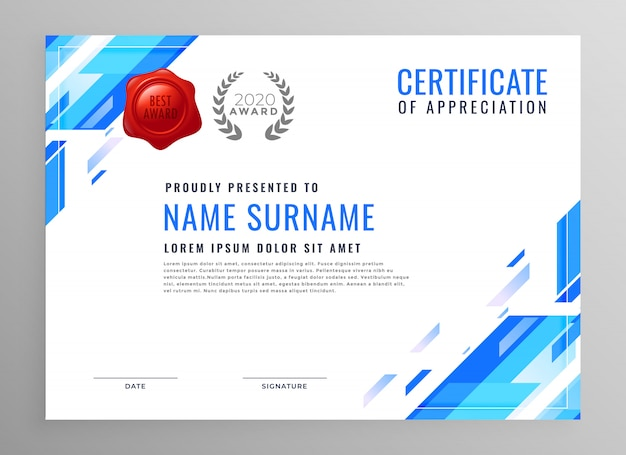 Design de certificado de negócio moderno azul