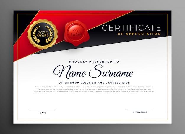 Design de certificado diploma vermelho preto