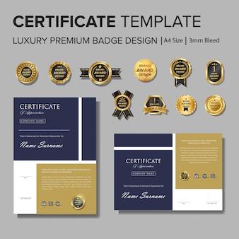 Design de certificado profissional com distintivo