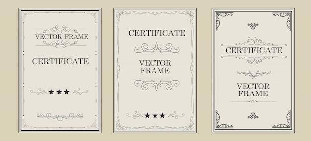 Design de certificado vintage com grande coleção de ornamentos de florescer