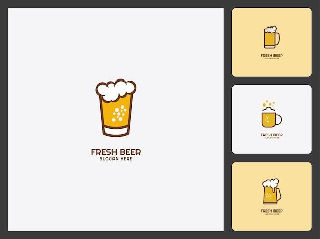 Design de cerveja definir vetor de modelo de logotipo